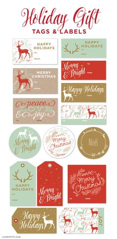 """""""Gift wrapping for the Holidays can be as much fun as discovering the perfect gift and today we are making it even more fun with this set of printable gift labels from the Lia Griffith Studio!Designed using a fresh color palette of mint, gold and red, these printable gift labels ..."""