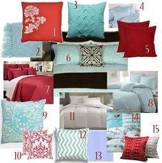 Love the blue and red with a touch of green added to the dark furniture in my living room. I think it's my new design plan! Bedroom Red, Home Bedroom, Bedroom Decor, Bedroom Ideas, Bedroom Colours, Master Bedrooms, Dream Bedroom, Girls Bedroom, Light Blue Bedding