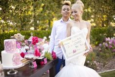 Gay Wedding Inspiration Shoot with Sweet & Edgy Brides {Cakes & Kisses} - mazelmoments.com