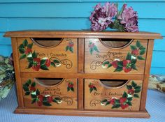 Recipe box vintage with four drawers and strawberry fields forever large size.