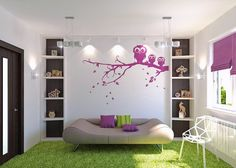 Lovely Teen Girls Bedroom Design With Owl Murals And Unique Bed Themes Ideas for a Teen Girls Bedroom