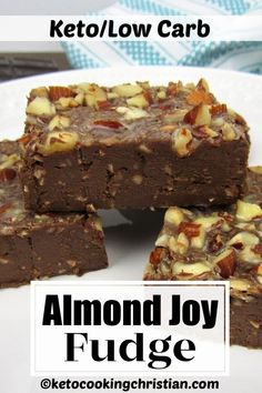 Keto Almond Joy Fudge This healthy Keto fudge is made with sugar-free sweetened condescend milk. Chocolate, almonds and coconut give it an almond joy flavor that's creamy and delicious! You''ll never know it's Low Carb! Low Carb Sweets, Low Carb Desserts, Low Carb Recipes, Dessert Recipes, Banting Recipes, Ketogenic Recipes, Healthy Desserts, Almond Joy, Atkins