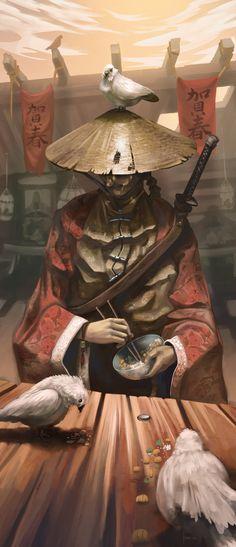 ArtStation - Samurai with friends, Hueala Teodor
