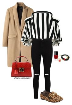 """""""Bold Stripes/Leopard loafers inspo set"""" by ootd-catalogue on Polyvore featuring Mode, rag & bone, Milly, Boohoo, Gucci, Chanel und Topshop"""