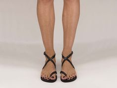 Unisex Leather Sandals, Ankle Strap Sandals, Toe Ring Sandals, Summer Flats - DURDI