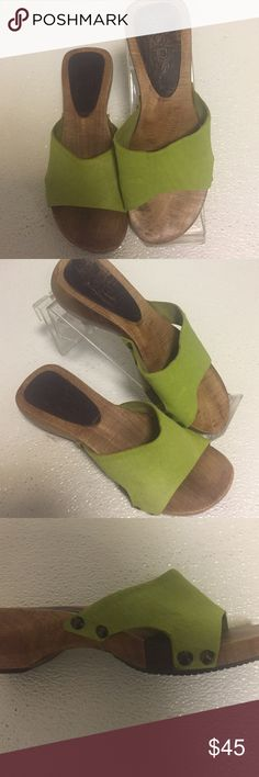 "Michael Kors green Pony hair Sandals 6 m Cute Sandals from Kors by Michael Kors in 6m. Slides. Green pony hair with wooden platforms.  1.25"" heel. 9"" heel to toe. A little wear on platform. KORS Michael Kors Shoes Sandals"