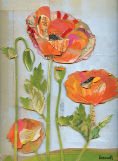 """""""Poppies On Natural"""" by Wayne Brezinka Paper Collage Art, Flower Collage, Flower Art, Paper Art, Paper Crafts, Framed Wall Art, Wall Art Prints, Nature Collage, Communication Art"""