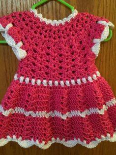 Handmade Crochet Sleeveless Girls' Dress Newborn to 3 months Watermelon/White #Handmade #DressyEverydayHoliday