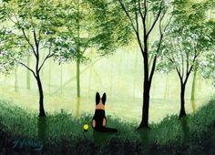 German Shepherd Dog Folk Art Print by Todd Young by ToddYoungArt