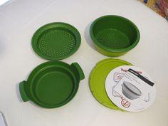 Tupperware Smart Steamer 4 piece set Green microwave NEW no box food steamer #Tupperwear