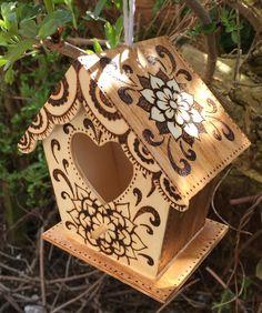 Wooden Decorative Birdhouse, Pyrography, Woodburned Garden Decoration, Garden Decor, Small Nesting Box, Bird Lovers Gift, Birdwatchers by Shinycraft2013 on Etsy