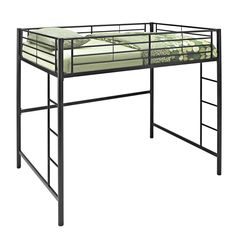 This full loft bed conveys chic style with a steel-crafted frame that promises stability and function. Designed with safety in mind, bunk bed includes full length guardrails and ladders. Ideal for space-saving needs and provides options below the loft.