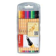 Pack of 10 Stabilo Point 88 Fineliner pens in assorted      colours. For fine writing, drawing or sketching. Ideal for  working with rulers and stencils.