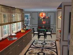 Asian Inspired Kitchen with Mahjong Table  Virtual Home Décor Designs Using The Sims 2