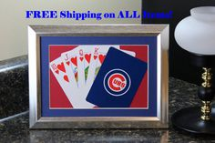 Chicago Cubs 5x7 Flush Hearts Authentic Playing Card Display by SinCityDisplays