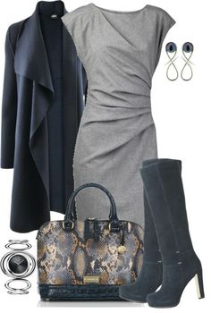 """Cardigan, Dress and Boots"" by averbeek on Polyvore (love the shape of the dress the coat)"