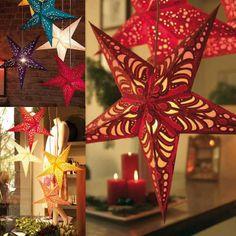 30CM Christmas Star Pentagram Bar Ceiling Decoration Colorful Paper Lampshade 4 Colors