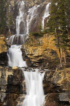 ..Tangle Falls, Jasper National Park, Alberta, by Mike Grandmailson..