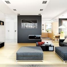 Modern living room by pracownia projektowa archipelag modern Minimal Home, Mocca, Planer, Living Room Designs, Minimalism, House Plans, Indoor, House Design, Interior Design