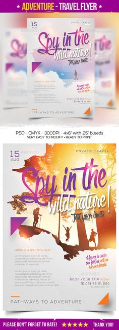 Nature Tours & Travel by mentho0ol Nature tours & Travel Flyer The PSD file is very well organized in folders and layers. You can modify everything very easy and qui