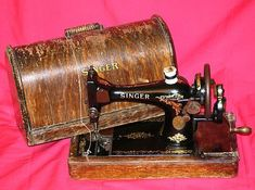 1913, Singer Hand Sewing Machine with Wooden Case, I can remember when mom had a machine like this.
