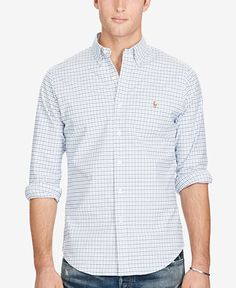 5956f9e2 Polo Ralph Lauren Men's Slim-Fit Stretch Check Oxford Shirt & Reviews -  Casual Button-Down Shirts - Men - Macy's