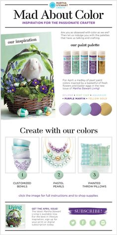 Martha Stewart Crafts Mad About Color April 2014 Palette - click thru for the full tutorial for three inspired projects - #marthastewart #marthastewartcrafts #plaidcrafts #diy #crafts #12Monthsofmartha