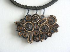 Very unique! Textile Necklace Exclusive Coffee And Milk by AudraTextileStudio, $40.00
