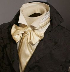 e851293c879f REGENCY Brummel Victorian Ascot Tie Cravat - CREAM Dupioni Silk. Victorian  Mens ...