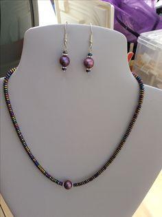 Purple cultured pearl and rainbow coloured Haematite