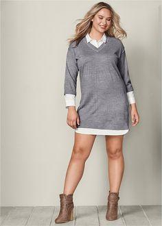 90b22e613e6 Collar detail sweater dress. Formal Dress ShopsPlus Size ...