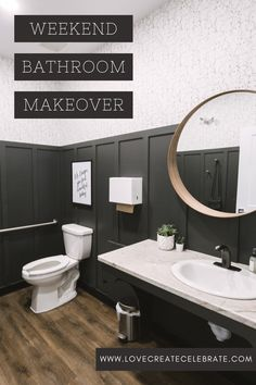 Love this bathroom makeover! The before and after of this DIY bathroom makeover is amazing! Two commercial hair salon bathrooms… The post Hair Salon Bathroom Makeover [in just 4 days!] appeared first on Love Create Celebrate. French Home Decor, Easy Home Decor, Home Decor Bedroom, Home Decor Items, Cheap Home Decor, Home Decor Accessories, Bathroom Makeovers On A Budget, Cheap Bathroom Makeover, Home Decor Quotes