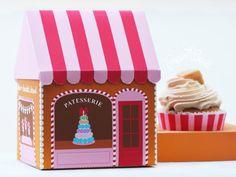 Sweet Shoppe Favor Box  Gingerbread Sweet Shoppe by PaperBuiltShop, $5.00