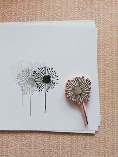 Dandelion puff rubber stamp wild flower stamp botanical stamp fabric stamp c Deco Nature, Clay Stamps, Stamp Carving, Handmade Stamps, Fabric Stamping, Flower Stamp, Tampons, Linocut Prints, Fabric Patterns