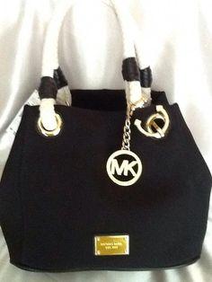 a066cda946 MICHAEL KORS Marina Black Canvas Anchor Rope Purse Tote Grab Bag Nautical  NWT  Handbagsmichaelkors Cheap