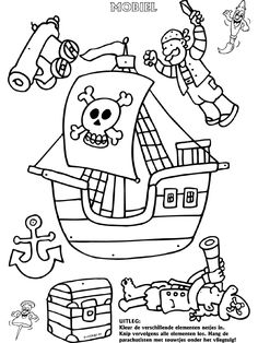Pirate ship mobile colouring page Jack Le Pirate, Pirate Day, Pirate Birthday, Preschool Pirate Theme, Pirate Activities, Colouring Pics, Coloring For Kids, Coloring Pages, Pirate Quilt