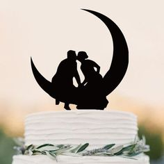 "Wedding Cake Topper (Romantic Kiss /Hold Hands /Anniversary Engagement) Material: Acrylic - Approx. Size: 5.5"" x 4.2"" (14cm x 10.6 cm) - Style: Bride & Groom Sitting on the Moon, Just The Two Of Us, R"