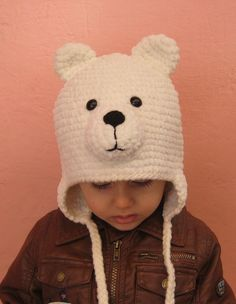 Crochet Bear hat / Polar bear hat / Baby winter by selmahandcraft