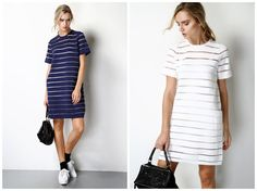 casual dress summer in white,navy,short length,loose fit,sheer,stripe,pocket at side,high fashion,sporty,fashion,chic.--E0207