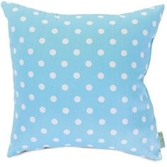 Majestic Home Goods Polka-Dot Decorative Throw Pillow (Blue) ($68) ❤ liked on Polyvore featuring home, home decor, throw pillows, blue, blue home accessories, blue home decor, blue accent pillows, blue throw pillows and polka dot throw pillows
