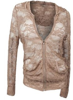 Plus Size Lace Sipper Front Hoodie Top