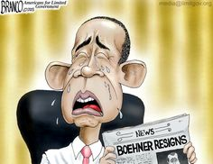 Boehner resigns, but who's shedding tears over it? Political cartoon by A.F.Branco