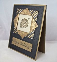 Birthday card masculine elegant stamped blank black gold leaf origami paper frame handmade stationery greeting card. $5.00, via Etsy.