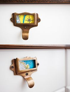 Map labels put into the library card catalog drawer pulls Knobs And Handles, Knobs And Pulls, Door Pulls, Door Handles, Map Drawers, Kitchen Drawer Pulls, Drawer Knobs, Door Knobs, Travel Crafts