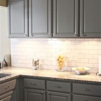 [Decoration] : Charming Wall Mounted Grey Wooden Cabinet And Grey Marble Counter Top And White Beveled Subway Tile Wall In Interior Decoration Design In Grey Slate Kitchen Floor Tile Ideas