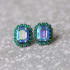 Sapphire Aurora Borealis Emerald Cut Earrings Swarovski Crystal Studs Rectangle Rhinestone Wedding Destination Bridesmaid Earrings Mashugana by MASHUGANA on Etsy https://www.etsy.com/listing/230054586/sapphire-aurora-borealis-emerald-cut