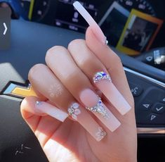 Acrylic Nails Coffin Pink, Long Square Acrylic Nails, Coffin Nails, Cute Acrylic Nail Designs, Acrylic Nails With Design, Nail Designs Bling, Blush Nails, Nails Design With Rhinestones, Glow Nails