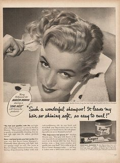Large Antique 1951 Marilyn Monroe Shampoo Advertising Magazine Print Ad - Approx 11 x 14 - TnTCollectibles