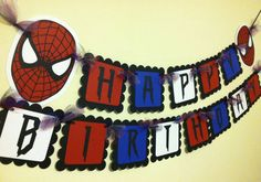 Minion / Despicable Me Inspired Happy Birthday Banner Diy Birthday Banner, Happy Birthday Name, Superhero Birthday Party, 6th Birthday Parties, Happy Birthday Banners, Man Birthday, Birthday Ideas, Spider Man Party, Fête Spider Man