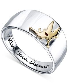 "Disney ""Follow Your Dreams"" Tinkerbell Ring in Sterling Silver and 14k Gold-Plating"